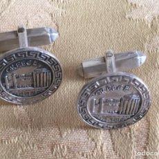 Antigüedades: GEMELOS VINTAGE TEMPLOS GRIEGOS PLATA LEY. Lote 130568571