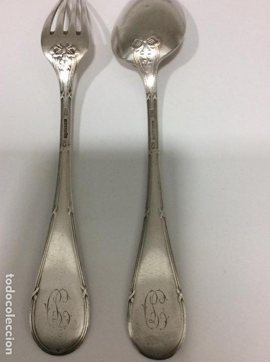 Antigüedades: Antiguo cubierto, cuchara y tenedor siglo XIX.-147 gms de peso - Foto 2 - 130584402