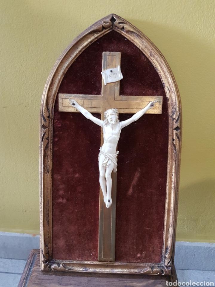 CRISTO MARFIL ANTIGUO. (Antigüedades - Religiosas - Crucifijos Antiguos)