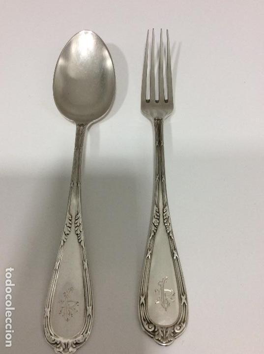 Antigüedades: Antiguo cubierto, cuchara y tenedor Siglo XIX - Foto 6 - 130584178