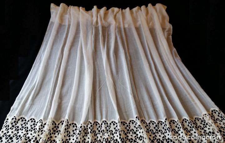 Antigüedades: Antigua cortina con encaje - Foto 3 - 130623250