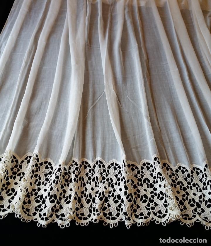 Antigüedades: Antigua cortina con encaje - Foto 4 - 130623250