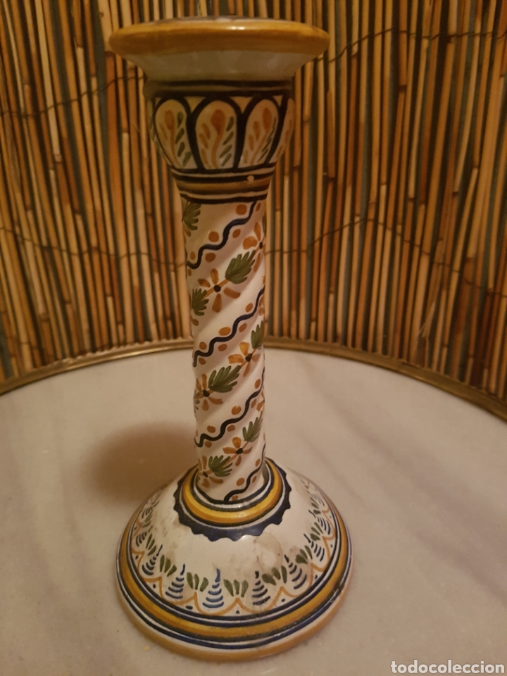 Antigüedades: Candelero. Candelabro portavelas ceramica Talavera - Foto 2 - 130628635