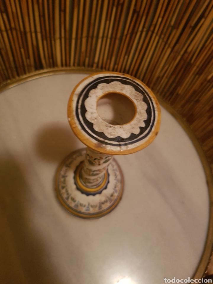 Antigüedades: Candelero. Candelabro portavelas ceramica Talavera - Foto 3 - 130628635