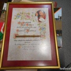 Antigüedades: PRECIOSA BENDICION DEL PAPA JUAN PABLO ENMARCADA DE 1981. Lote 130674259
