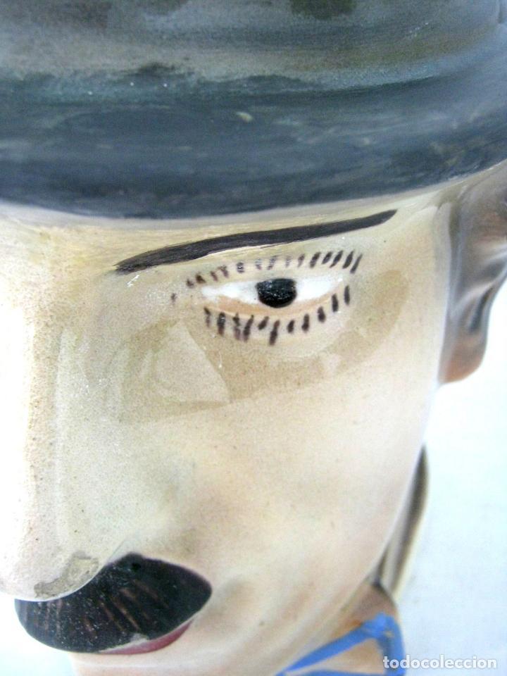 Antigüedades: ANTIGUO BOTIJO ART DECO CHARLES CHAPLIN, CHARLOT, MODERNISTA, ART NOUVEAU, MANISES - Foto 7 - 130765544