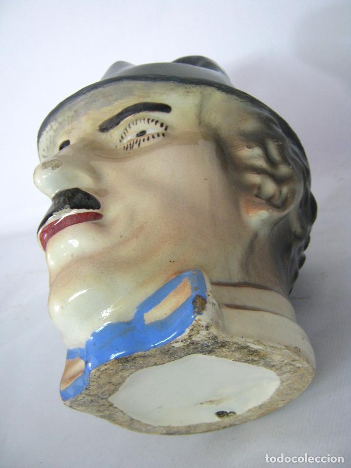 Antigüedades: ANTIGUO BOTIJO ART DECO CHARLES CHAPLIN, CHARLOT, MODERNISTA, ART NOUVEAU, MANISES - Foto 8 - 130765544