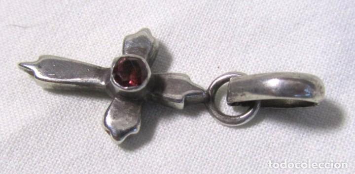 Antigüedades: Cruz de plata 925 colgante con granate facetado - Foto 5 - 130766500