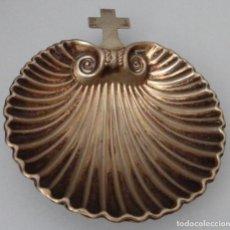 Antigüedades: BANDEJA CONCHA BAUTISMAL EN ALPACA . Lote 130791128
