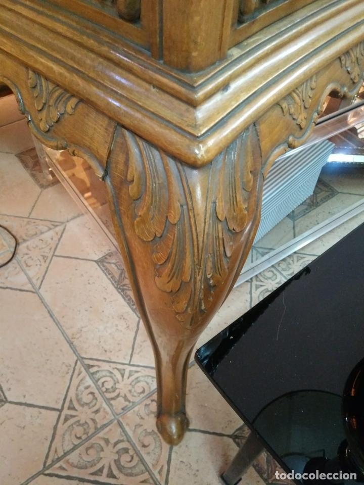 Antigüedades: Preciosa Mesa Despacho,madera noble tallada. - Foto 3 - 130792552