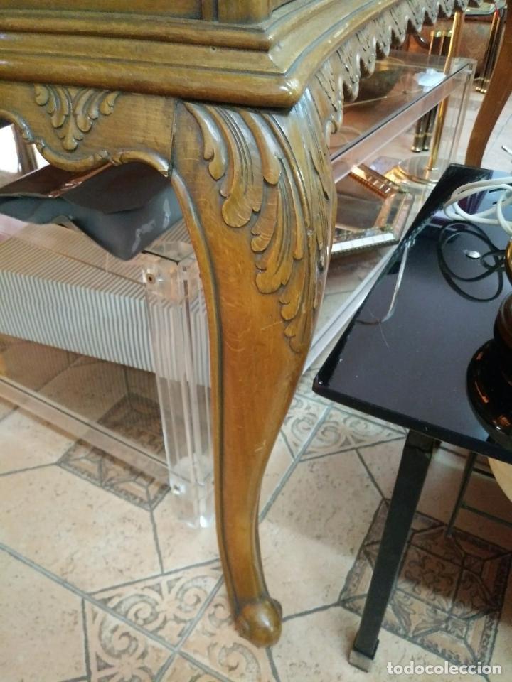Antigüedades: Preciosa Mesa Despacho,madera noble tallada. - Foto 5 - 130792552