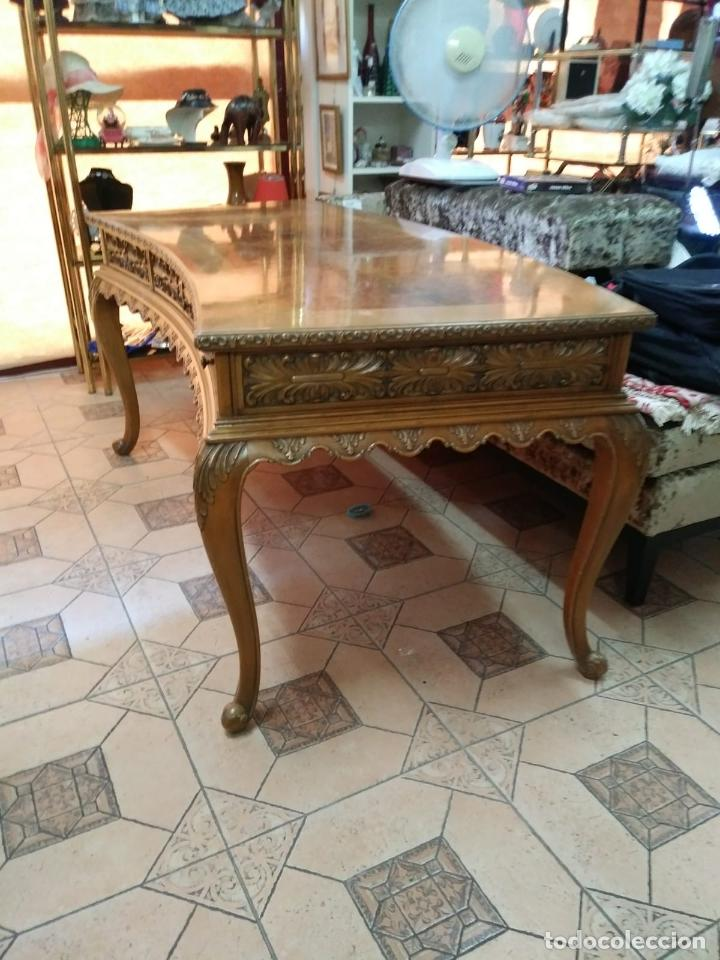 Antigüedades: Preciosa Mesa Despacho,madera noble tallada. - Foto 6 - 130792552