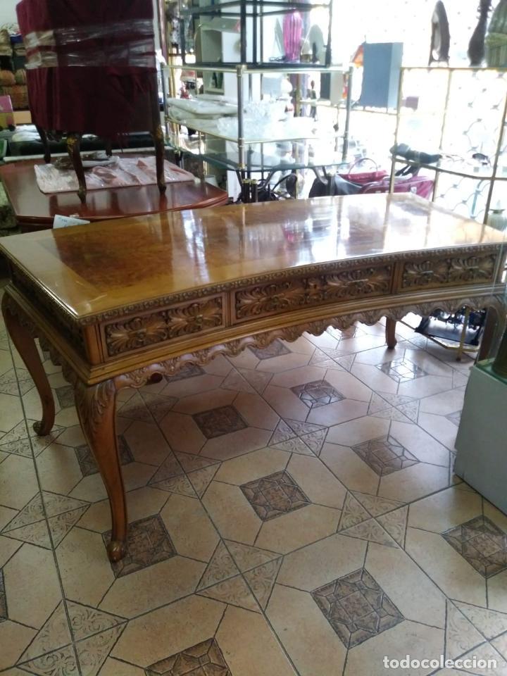 Antigüedades: Preciosa Mesa Despacho,madera noble tallada. - Foto 12 - 130792552