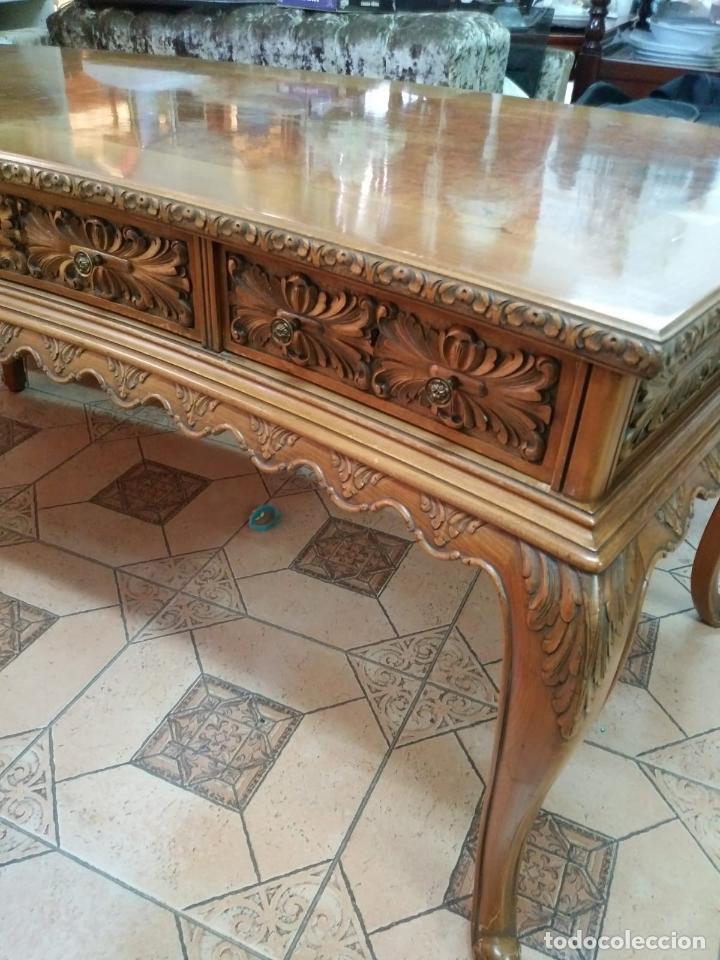 Antigüedades: Preciosa Mesa Despacho,madera noble tallada. - Foto 14 - 130792552