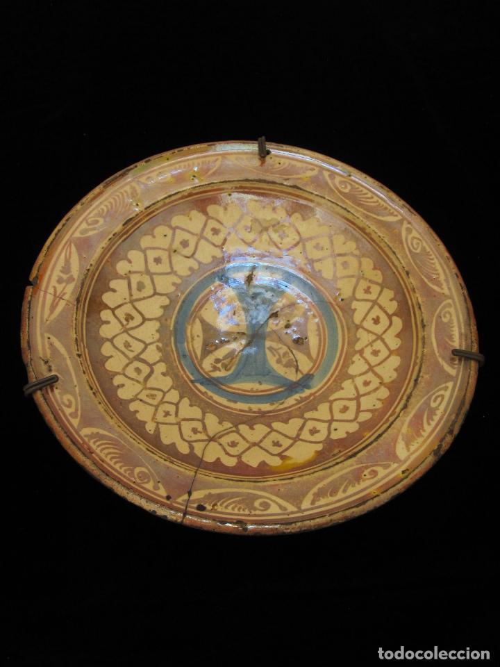 Antigüedades: PLATO DE REFLEJOS METÁLICOS CON ESCUDO DE LA MERCED, PROBABLEMENTE ARAGÓN o CATALUÑA SIGLO XVII - Foto 2 - 130803812