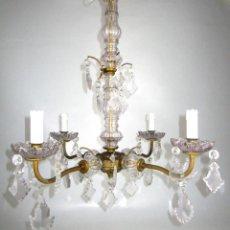 Antigüedades: LAMPARA ANTIGUA 1920 RESTAURADA MARIA TERESA EN BRONCE Y CRISTAL. Lote 130871504