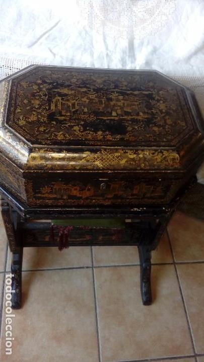 Antigüedades: Costurero chino s.XIX lacado - Foto 2 - 127514983
