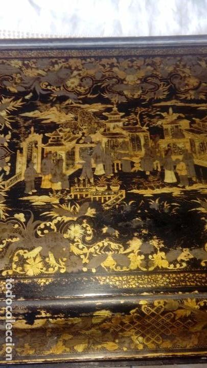 Antigüedades: Costurero chino s.XIX lacado - Foto 3 - 127514983