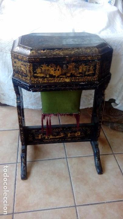 COSTURERO CHINO S.XIX LACADO (Antigüedades - Muebles Antiguos - Auxiliares Antiguos)