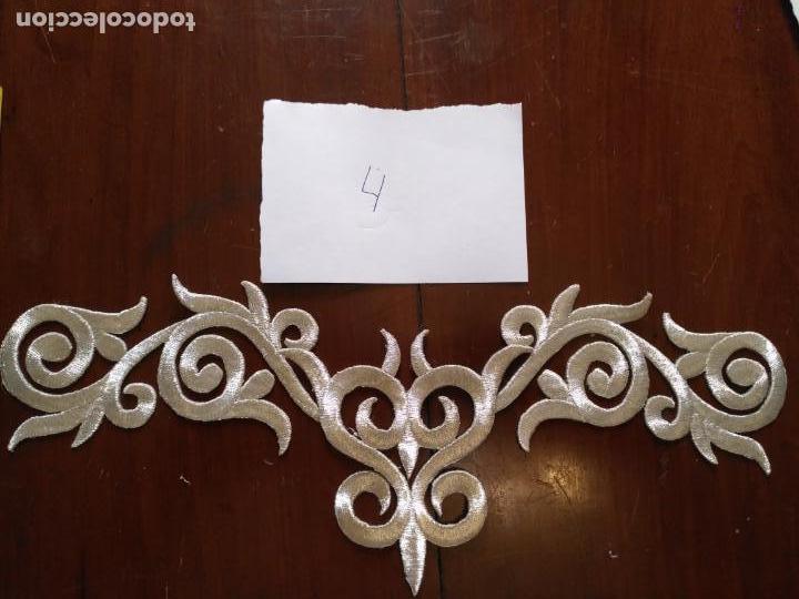 Antigüedades: fajin para virgen de tamaño natural composicion de 3 pieza aplicacion aplique bordado hilo plateado - Foto 2 - 141473732