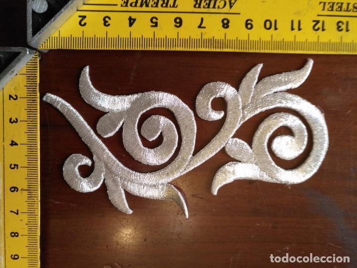 Antigüedades: fajin para virgen de tamaño natural composicion de 3 pieza aplicacion aplique bordado hilo plateado - Foto 5 - 204321331