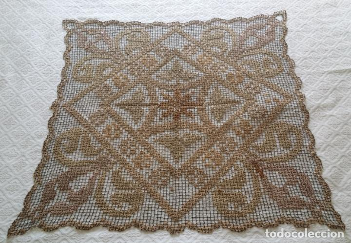 Antigüedades: Antiguo mantel / tapete de red - Foto 2 - 130929892