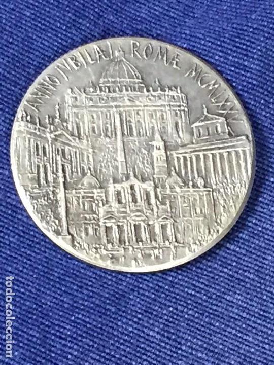 Antigüedades: PRECIOSA MEDALLA ROMA VATICANO AÑO SANTO JUBILEO 1975 UT UNUM SINT 35mm - Foto 2 - 130933604