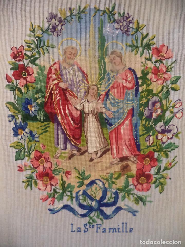 Antigüedades: Bordado realizado artesanalmente en convento por religiosas año 1884 - Foto 2 - 130937332