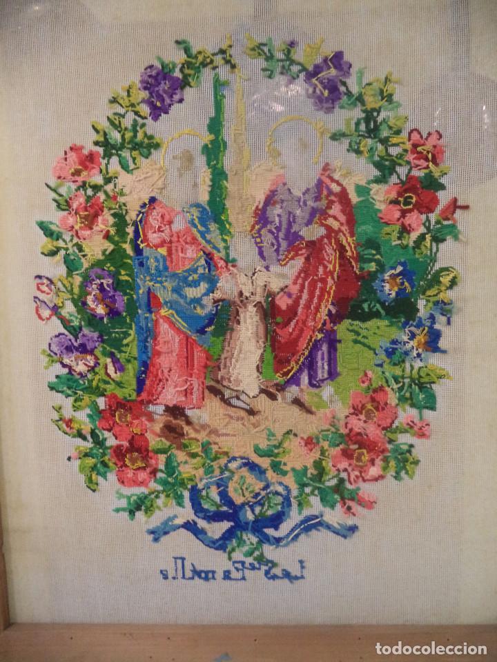 Antigüedades: Bordado realizado artesanalmente en convento por religiosas año 1884 - Foto 15 - 130937332