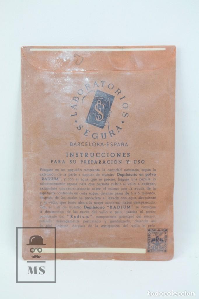 Antigüedades: Antiguo Sobre de Depilatorio en Polvo Radium - Laboratorios Segura, Años 40-50 - Lleno - Foto 2 - 155616674