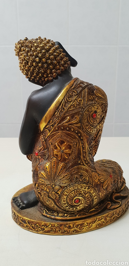 Antigüedades: Buda de resina de color oro y negro - Foto 4 - 131012111