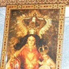 Antigüedades: CUADRO VIRGEN DE LA PEÑA CON MARCO DE ARTESANIA.45X65.CM. Lote 131013264