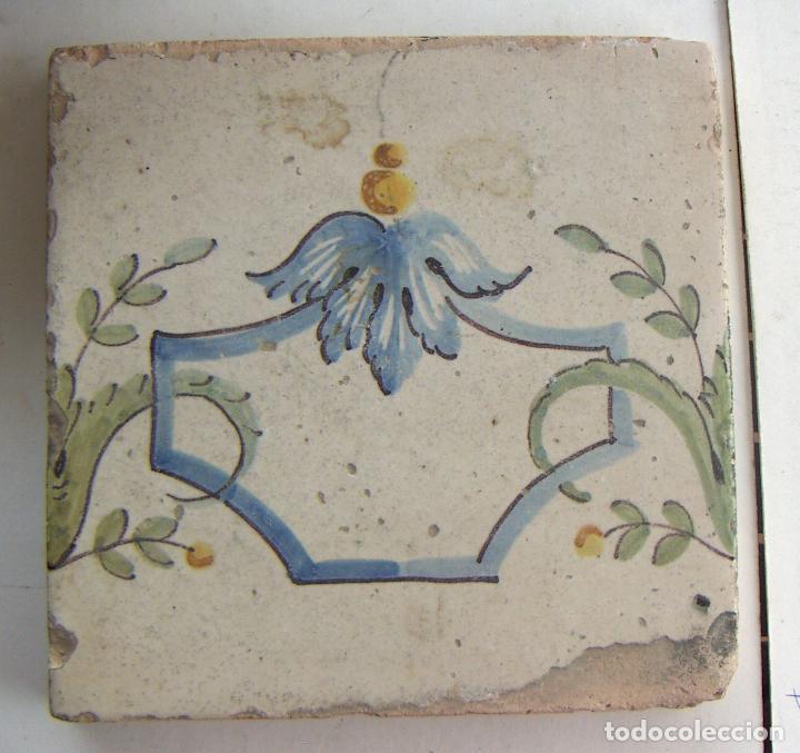 ANTIGUO AZULEJO CERAMICA VALENCIANA 20,5X20,5 CM (Antigüedades - Porcelanas y Cerámicas - Azulejos)