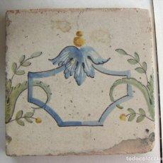 Antigüedades: ANTIGUO AZULEJO CERAMICA VALENCIANA 20,5X20,5 CM. Lote 131017820