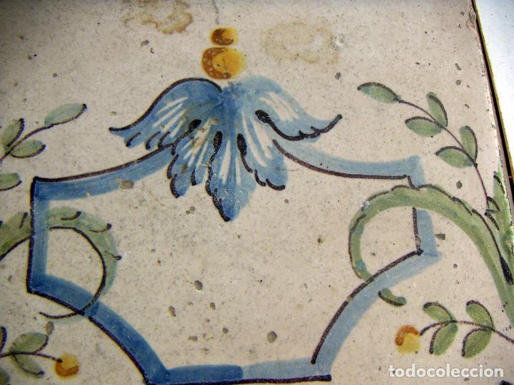 Antigüedades: ANTIGUO AZULEJO CERAMICA VALENCIANA 20,5X20,5 cm - Foto 2 - 131017820