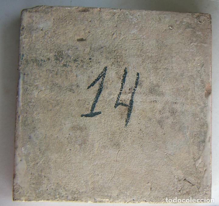 Antigüedades: ANTIGUO AZULEJO CERAMICA VALENCIANA 20,5X20,5 cm - Foto 3 - 131017820