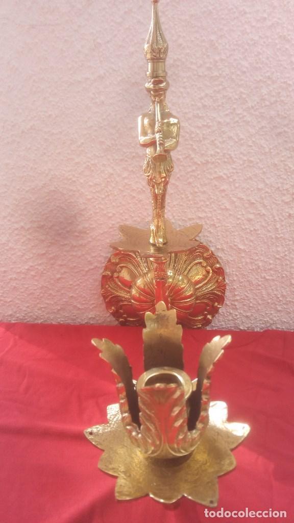 Antigüedades: APLIQUE LAMPARA DE PARED CANDELABRO PORTAVELAS EN BRONCE FUNDIDO CON FIGURA DE SIRENA. - Foto 2 - 131038012