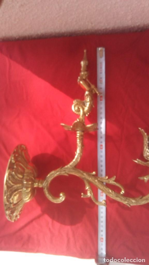 Antigüedades: APLIQUE LAMPARA DE PARED CANDELABRO PORTAVELAS EN BRONCE FUNDIDO CON FIGURA DE SIRENA. - Foto 6 - 131038012