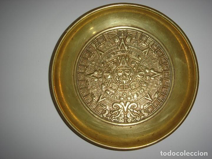 Antigüedades: PLATO DE BRONCE CULTURA AZTECA MAYA INCA - Foto 3 - 177136107