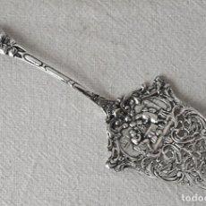 Antigüedades: PALA DE SERVIR DE ALPACA PLATEADA.23,5 CM LARGO. VER FOTOS Y DESCRIPCION. Lote 131062816