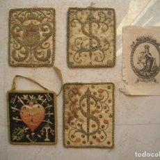 Antigüedades: ESCAPULARIOS BORDADOS ANTIGUOS, ORDEN DE LA MERCED.+ UN PEQUEÑO GRABADO DE NTRA.SRA.DEL CARMEN.. Lote 131065268