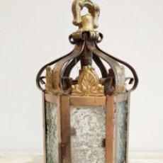 Antigüedades: PEQUEÑO FAROL, BRONCE Y CRISTAL. ELECTRIFICADO. Lote 131072308