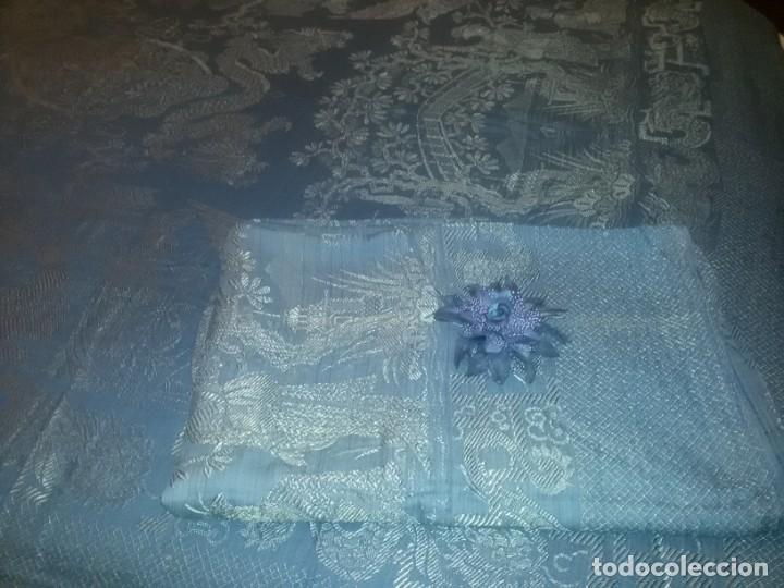 Antigüedades: DOS ANTIGUAS COLCHAS ALGODÓN Y SEDA - Foto 8 - 217444425