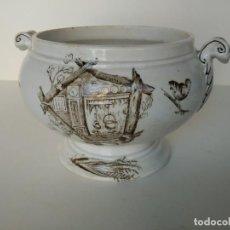 Antigüedades: ANTIGUA SOPERA CON MOTIVOS DE AVES DE LA CARTUJA. Lote 131100456
