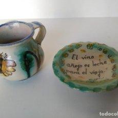 Antigüedades: LOTE DE JARRA Y PLATO DE PUENTE DEL ARZOBISPO. Lote 131100736
