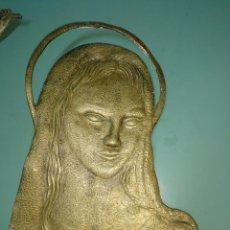 Antigüedades: CHAPA PLACA VIRGEN EN BRONCE. Lote 131107064