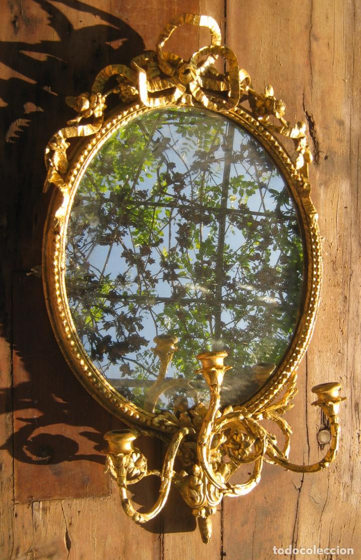 Antigüedades: c.1800. Jorge III. Antiguo espejo oval de 3 luces Rococó - Georgian Gilt Gesso Oval Girandole Mirror - Foto 2 - 131124772