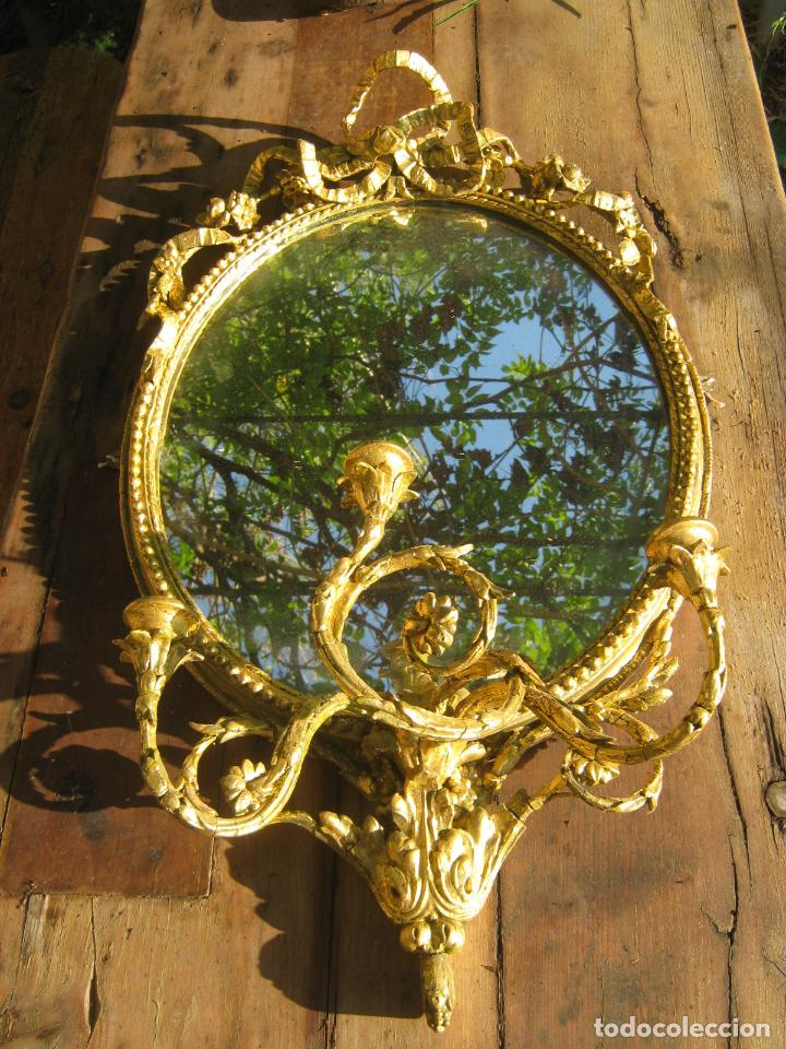 Antigüedades: c.1800. Jorge III. Antiguo espejo oval de 3 luces Rococó - Georgian Gilt Gesso Oval Girandole Mirror - Foto 4 - 131124772