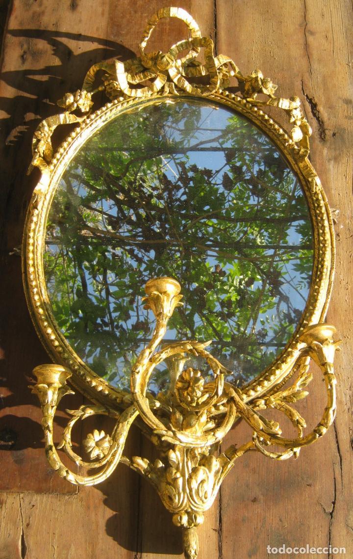 Antigüedades: c.1800. Jorge III. Antiguo espejo oval de 3 luces Rococó - Georgian Gilt Gesso Oval Girandole Mirror - Foto 3 - 131124772