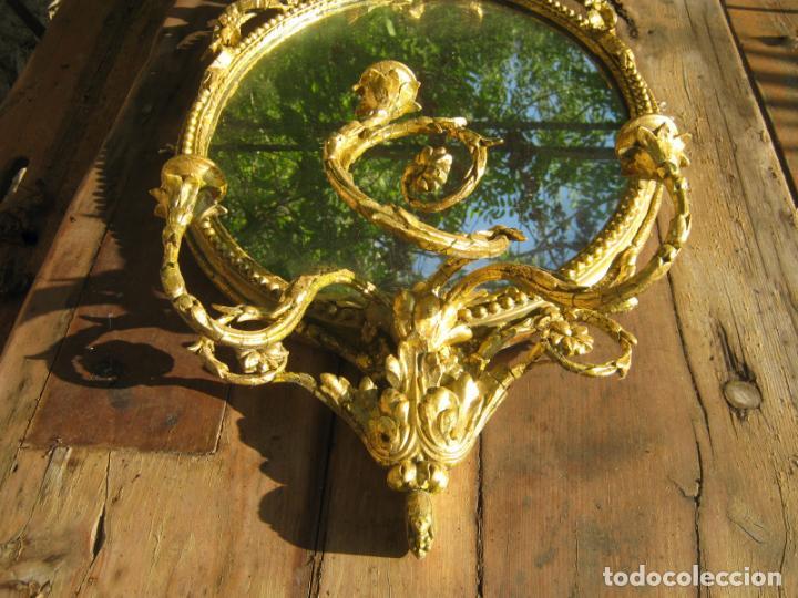 Antigüedades: c.1800. Jorge III. Antiguo espejo oval de 3 luces Rococó - Georgian Gilt Gesso Oval Girandole Mirror - Foto 5 - 131124772